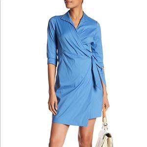 Lafayette 148 NY Blue Wrap Shirt Dress